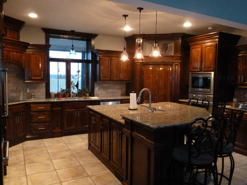 Red Cherry Cabinets Kitchen Premade Islands Custom Built With