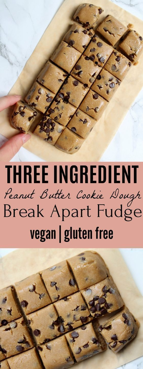 Safe-to-eat Three Ingredient Peanut Butter Cookie Dough Break Apart Fudge - Vegan | Gluten Free #peanutbutterfudge