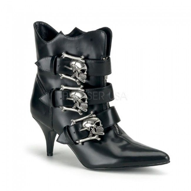 Fury Skull Buckled Womens Ankle Boot