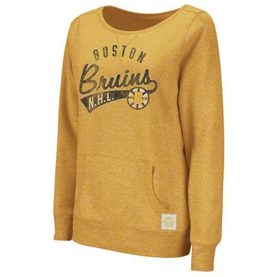 Boston Bruins Women S Gold Retro Sport Sweep The Leg Too Long Sleeve