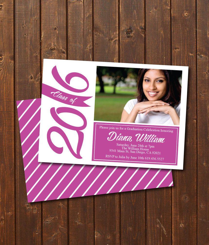 top wedding invitations016%0A college graduation party invitations    ON SALE Class of Graduation  Invitation Card graduation announcement Print