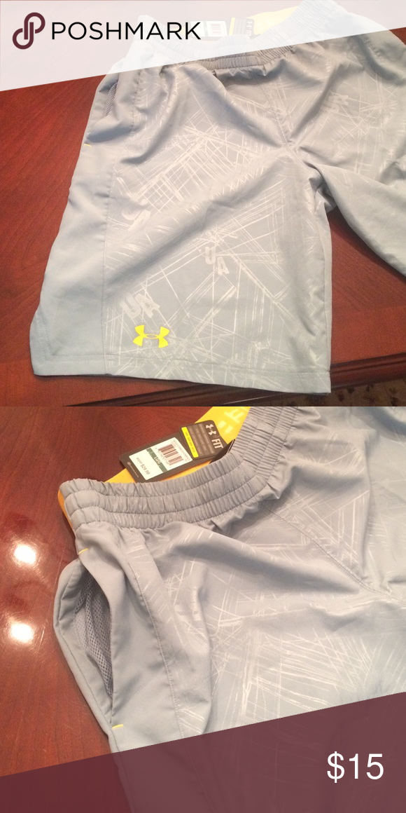 Grey & Yellow Under Armour Shorts Brand new, pockets, no liner Under Armour Shorts Athletic
