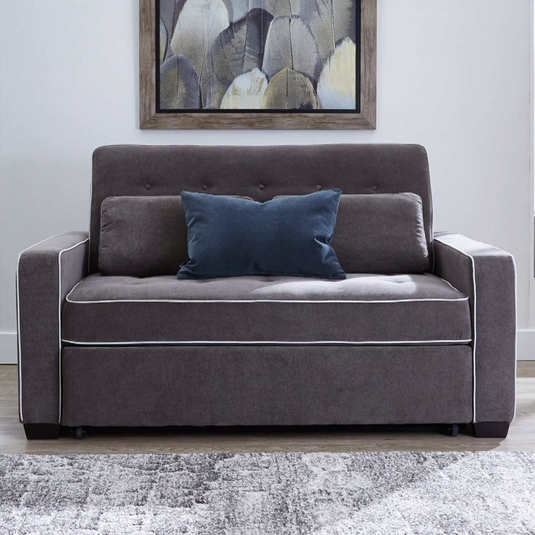 The Augustine Sofa With Pop Up Bed Starts Out As A Stylish Tufted Linen Sofa With A Geometric Silhouette Straight Track Arms An In 2020 Sofa Bed Design Sofa Bed Sofa