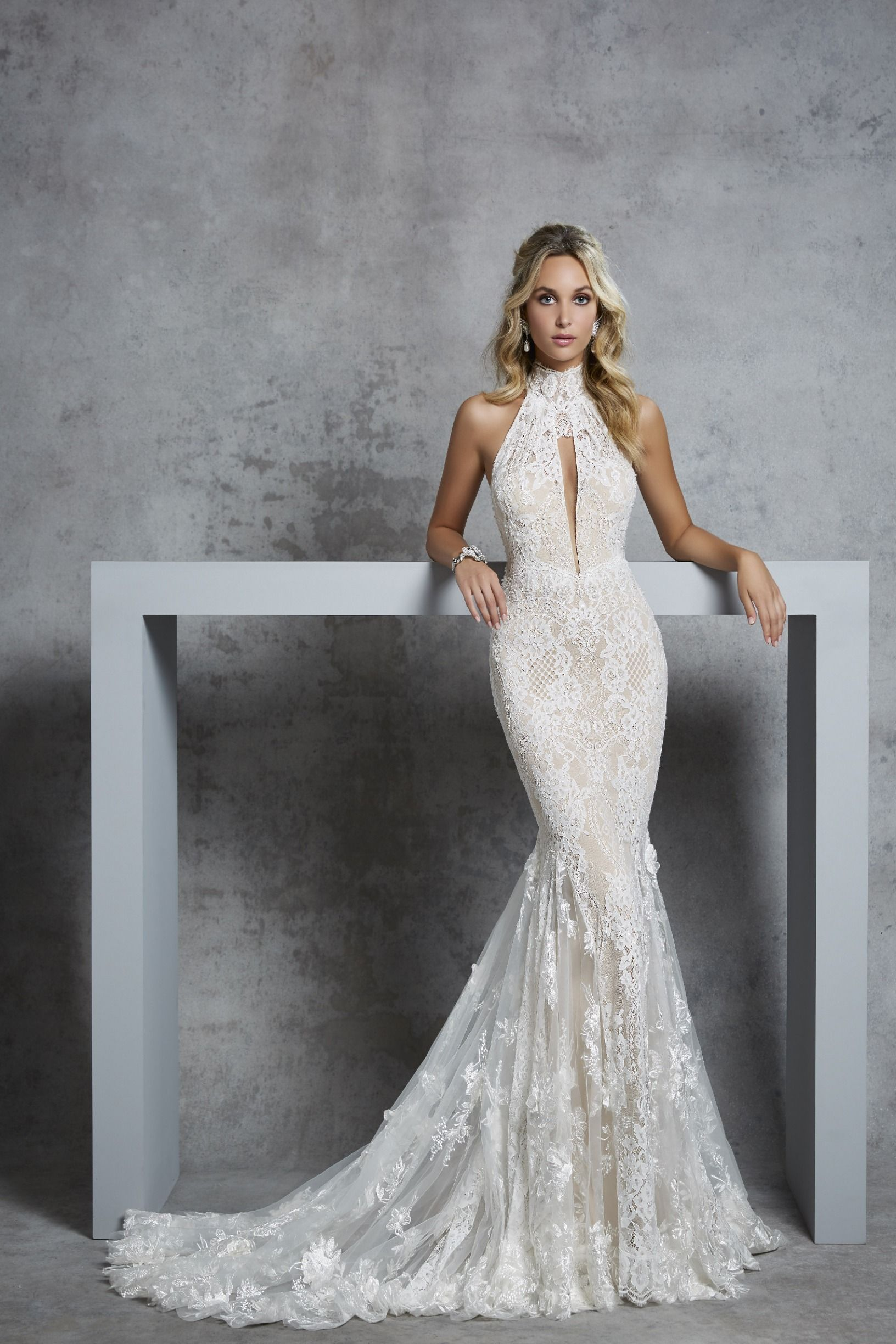 Stunning Embroidered Lace Backless Fit Flare Halter Wedding Dress Mermaid Bridal Gown With O Halter Wedding Dress Bridal Gowns Mermaid Fitted Wedding Dress [ 2448 x 1632 Pixel ]