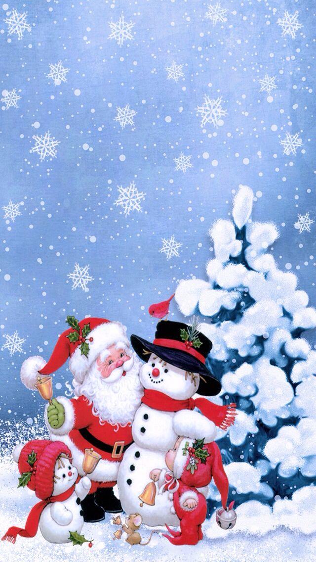 *SANTA & SNOW PEOPLE Pintura de natal, Natal animais
