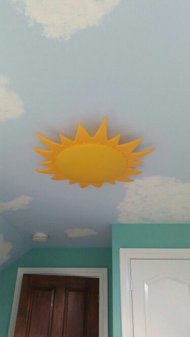 Painted Ceiling And Sun Light Fitting From Ikea Girls Room Paint Painted Ceiling Natural Bedroom