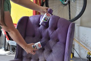 You Can Paint Your Furniture Fabric With Krylon Spray Paint Cassandra Design Delicious Purple Tu Painting Fabric Furniture Paint Upholstery Purple Chair