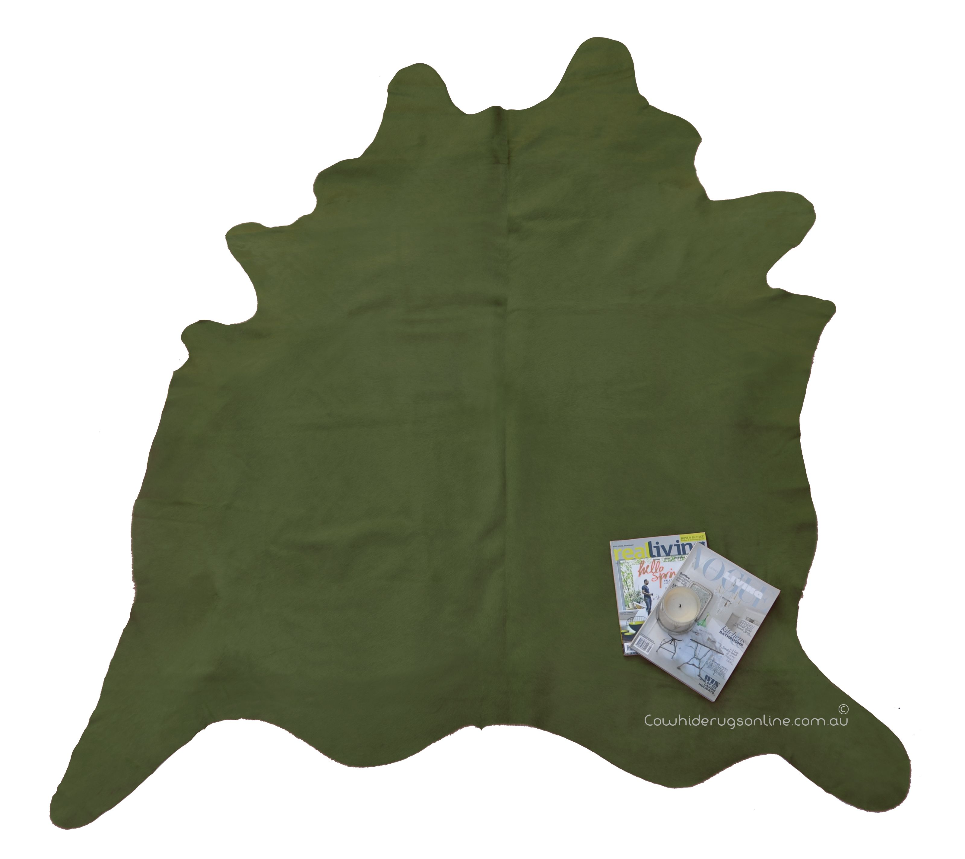 Olive Green Dyed Cowhide Large Rug