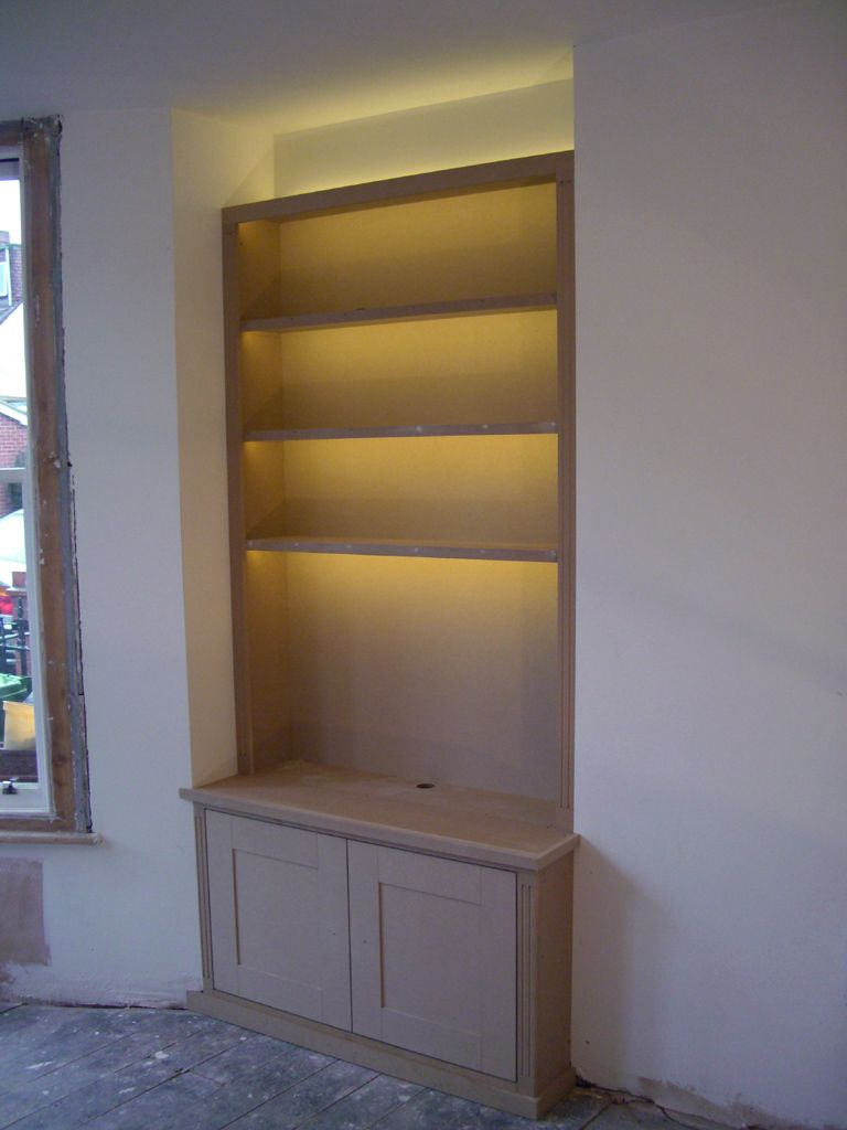 Ed Alcove Bookcase With Led Strip Lights Built In Shelves