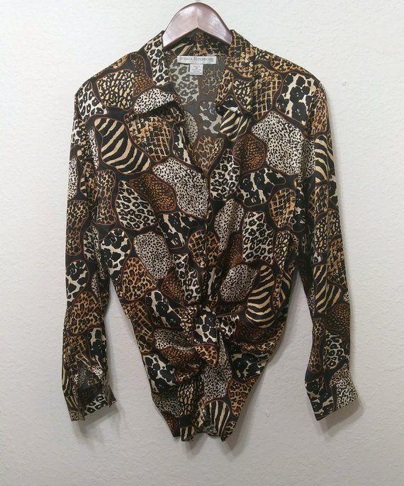 a9ba72d7316fb6 Women s Vintage 1990s Silk Blouse Shirt Long Sleeve Animal Print Cheetah  Tiger Brown Black Gold 90s Retro Size M Medium