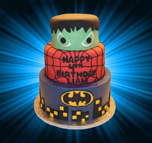 3 Tier Birthday Cake Hulk Spiderman Batman Lego super hero