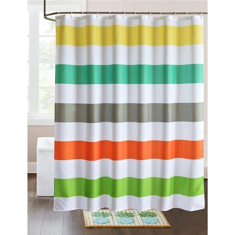 Fabric Shower Curtain Colorful Rainbow Cross Stripe White