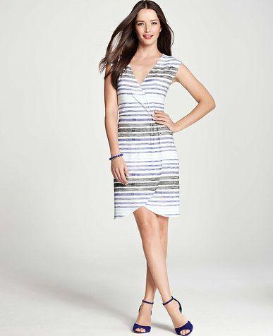 Petite Etched Stripe Print Crossover Dress | *Ann Taylor* | Pinterest