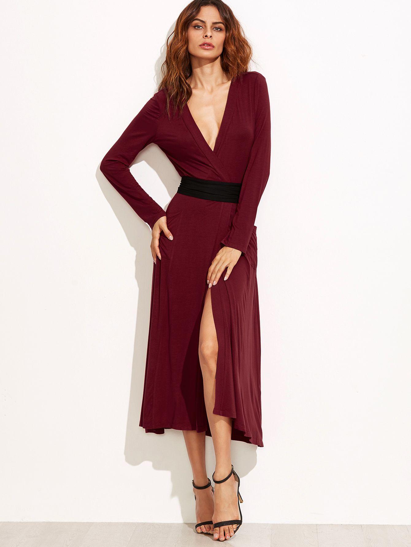 Shop Burgundy Surplice Wrap Dress With Contrast Belt Online Shein Offers Burgundy Surplice Wrap Dress With Contrast Bel Wrap Dress Dresses Surplice Wrap Dress [ 1785 x 1340 Pixel ]