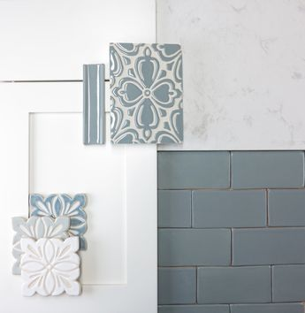 We love the vintage modern feel of this color concept featuring our handmade tile paired with Ultracraft cabinets and Cambria countertops. Seen here are our Brocade and Cobham decorative patterns plus our handmade subway tile   juleptile.com