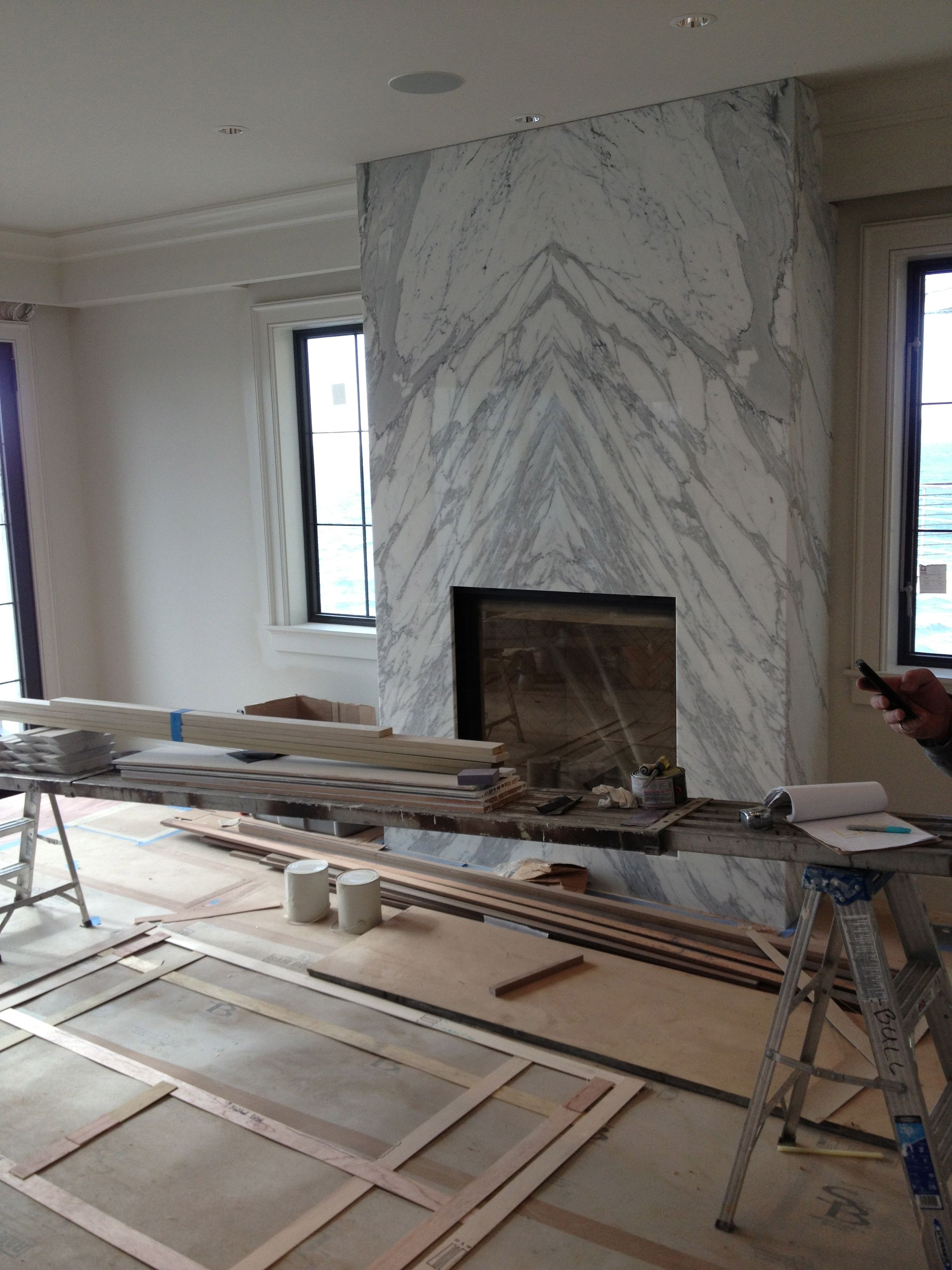 Contemporary Slab Stone Fireplace, Calacutta Carrara Marble, Book Matched  Stone Slab, Gas Fireplace