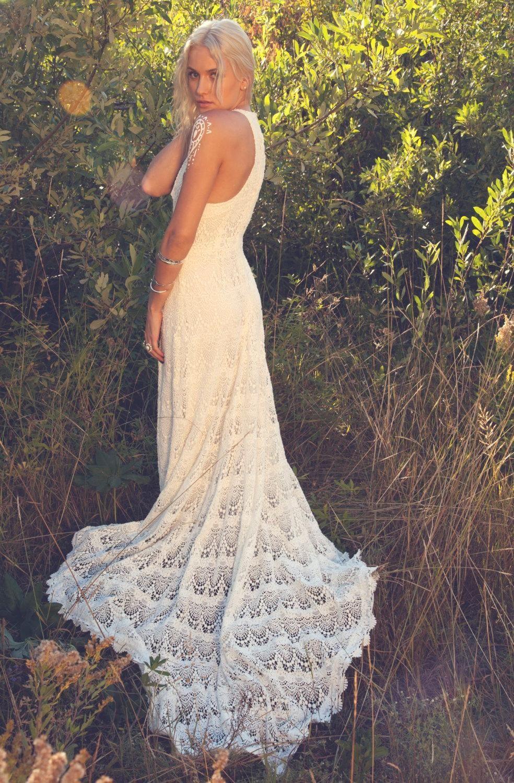 Vintage bohemian wedding dress  Vintage Inspired Jewel Sleeveless Court Train Racer Back Crochet