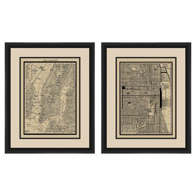 PTM New York City Map 2 Piece Framed Graphic Art Set