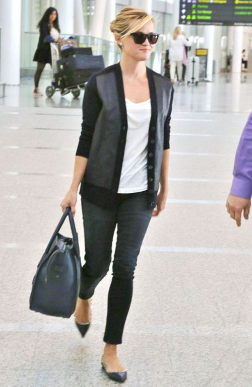Reese Witherspoon in a leather-detailed cardigan