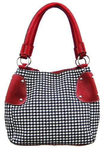 Amazon.com: Black / White Houndstooth Bucket Bag Purse Red Trim: Clothing