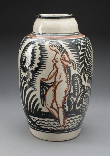 1930s Vintage Pink Nude Art Deco Ceramic Vase, Germany