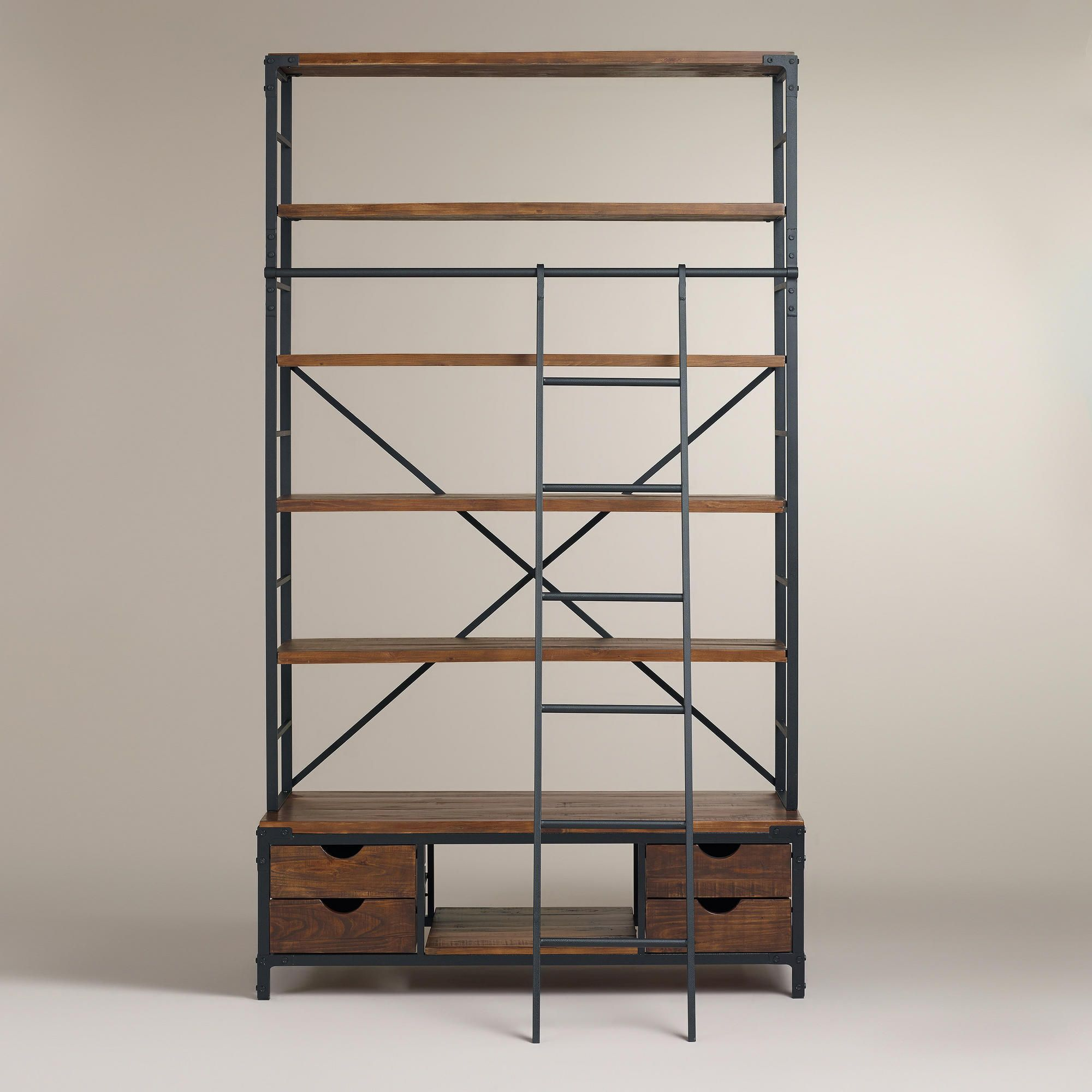 Metal Bookcase And Ladder World Market Metal Bookcase