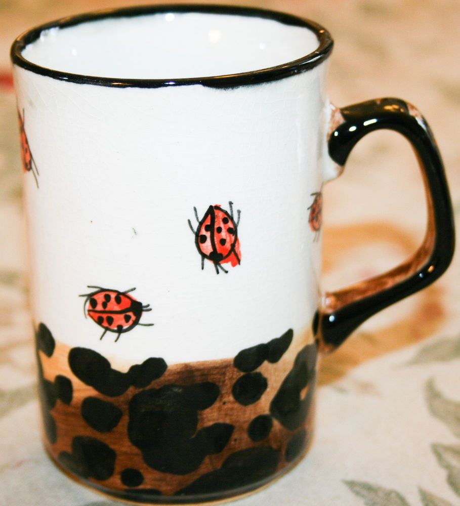 Sharon Thompson Art Pottery Tableware Mugs Ladybug and Leopard print & Sharon Thompson Art Pottery Tableware Mugs Ladybug and Leopard print ...