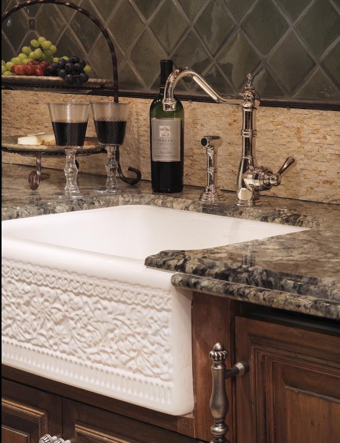 farmhouse sink, granite counter tops