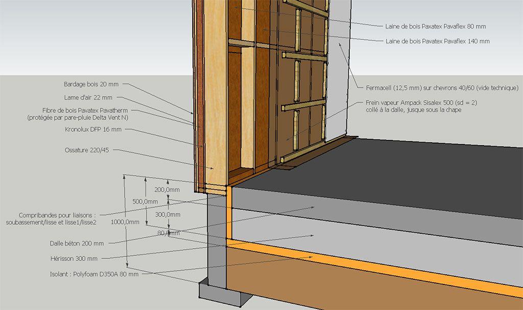 Structure des murs maison bois pinterest ossature - Epaisseur mur maison ossature bois ...