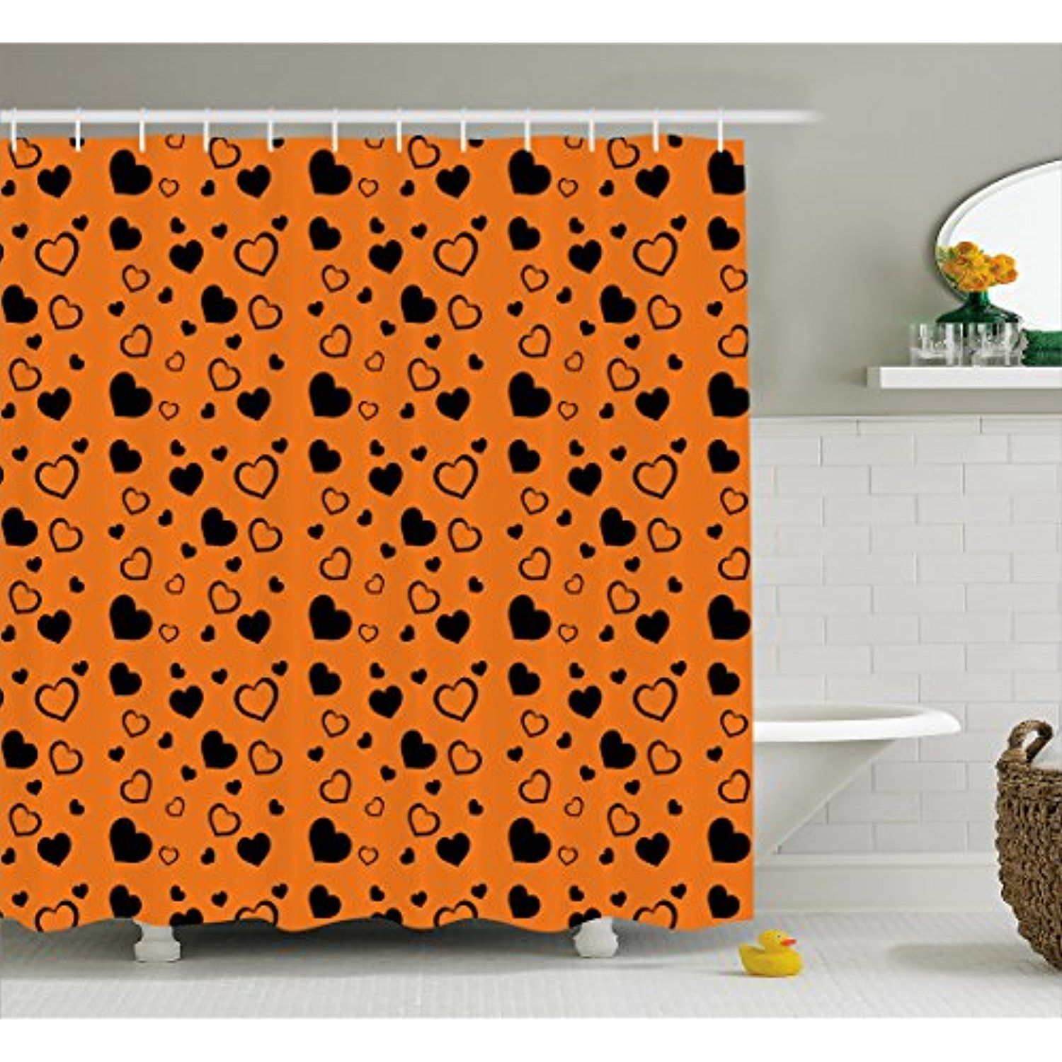 Hearts Shower Curtain By Lunarable Vibrant Color Background With