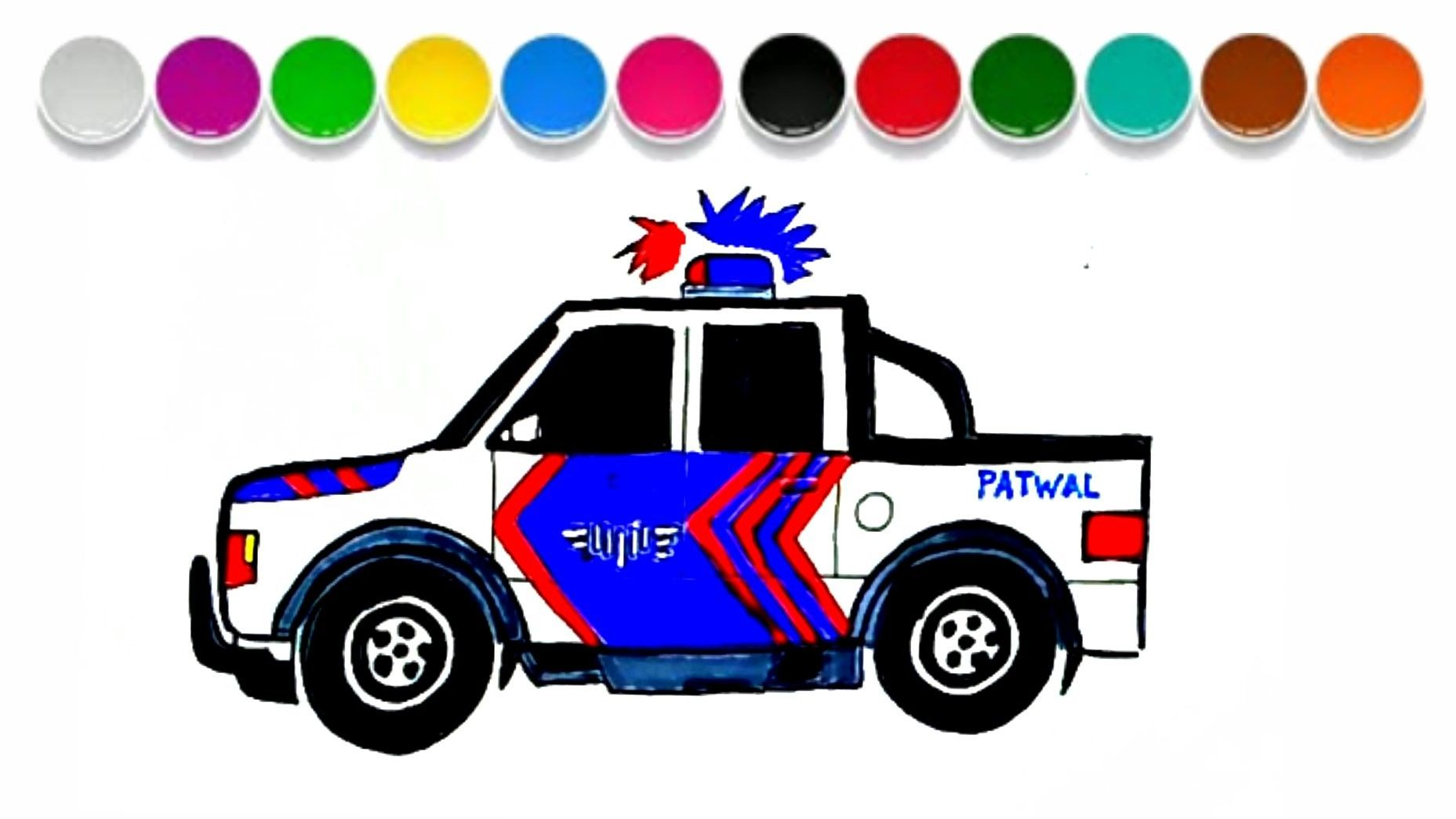 Menggambar Dan Mewarnai Mobil Polisi Indonesia Untuk Anak Toy Car Full Movies Toys