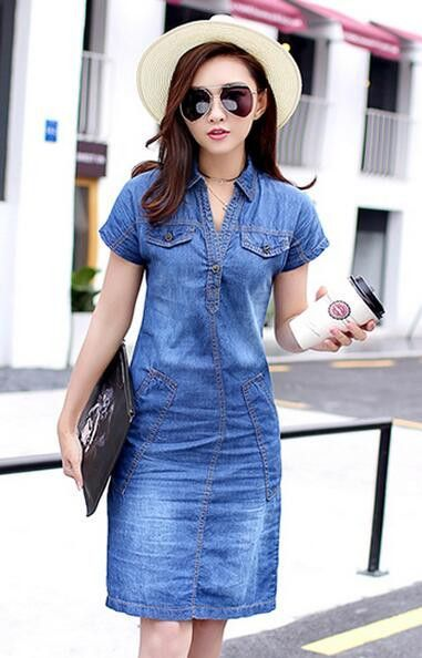 Denim Dress New Fashionable Turn-down Collar Short Sleeve Ladies Jeans Dress  With Double Pockets Midi Dress For Woman efabfe889378
