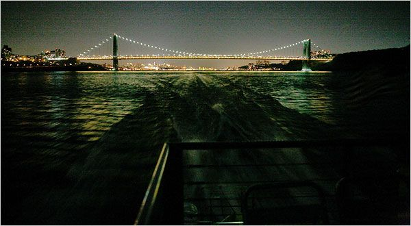 The NYC harbor at night...