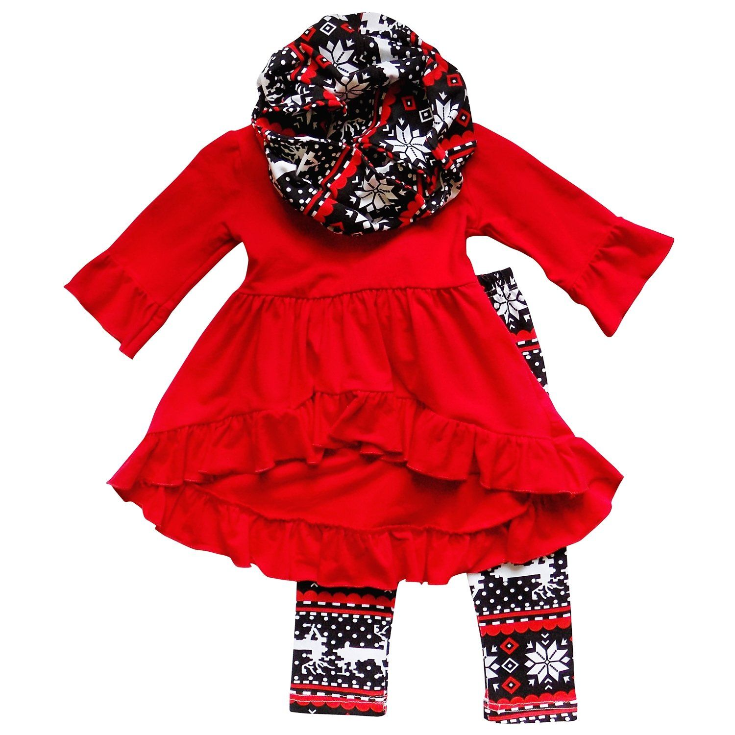 So Sydney Toddler Girls 3 Pc Hi Lo Christmas Holiday Ruffle Tunic
