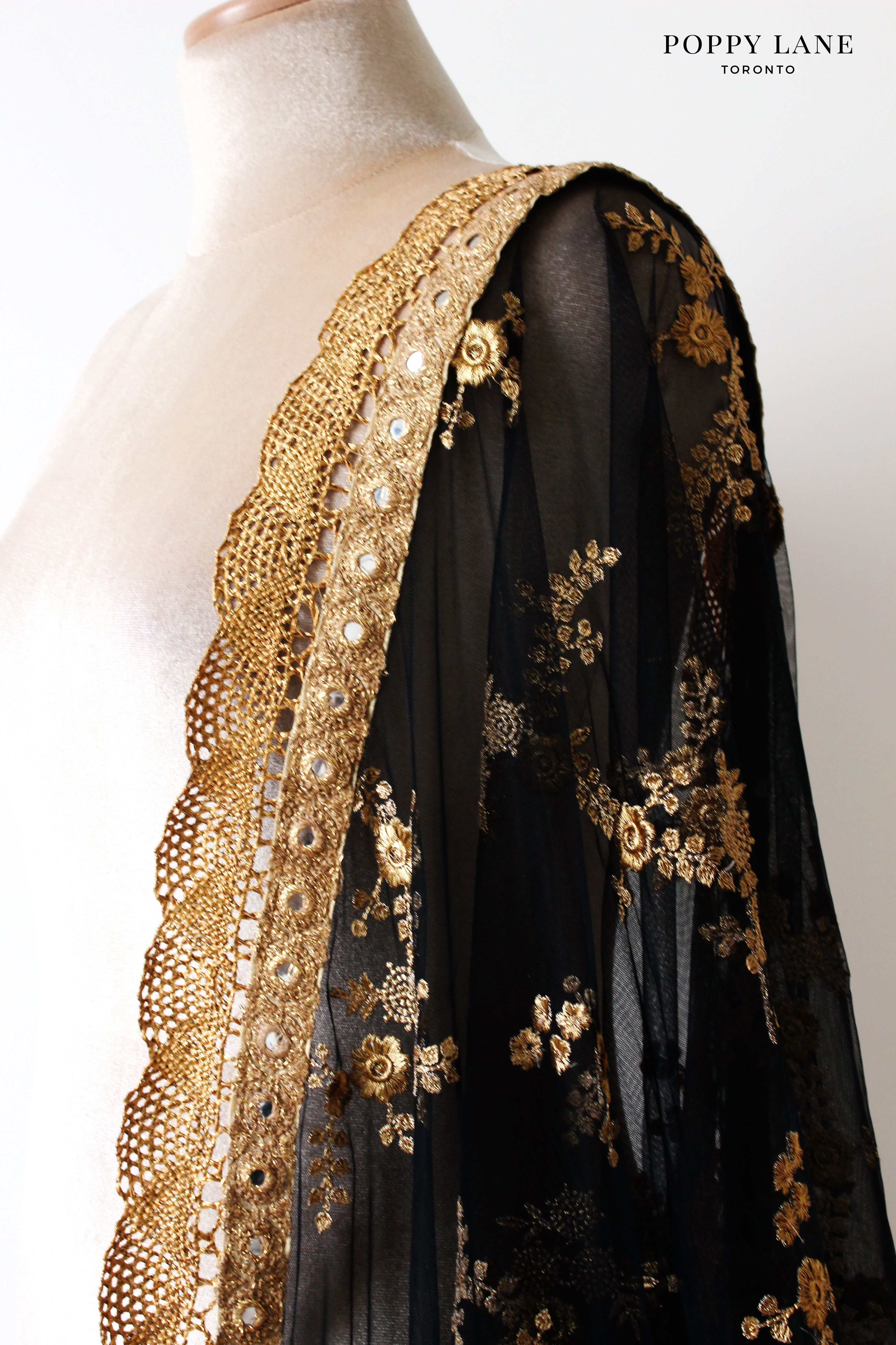 80a6fc2923 Beautiful black and gold dupattas. Easily paired with any outfit!   Shop  now at poppylane.ca