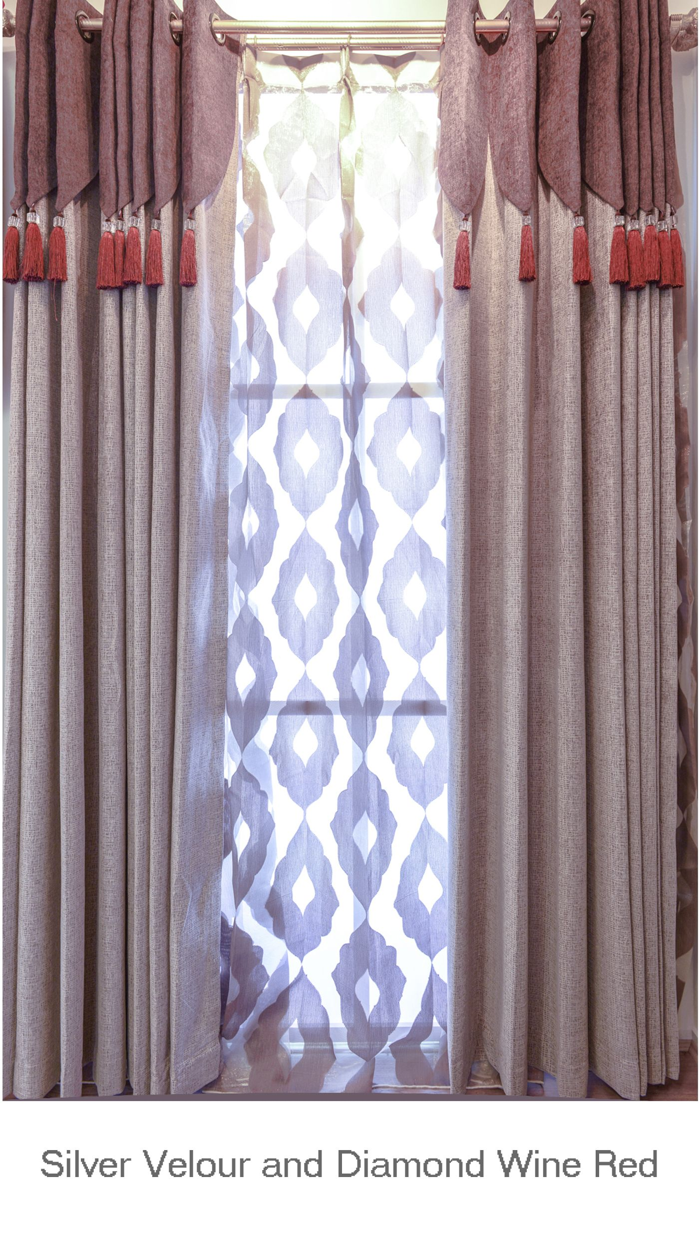 Luxurious Wine Red Diamond Sheers And Thick Velour Curtain Fabric