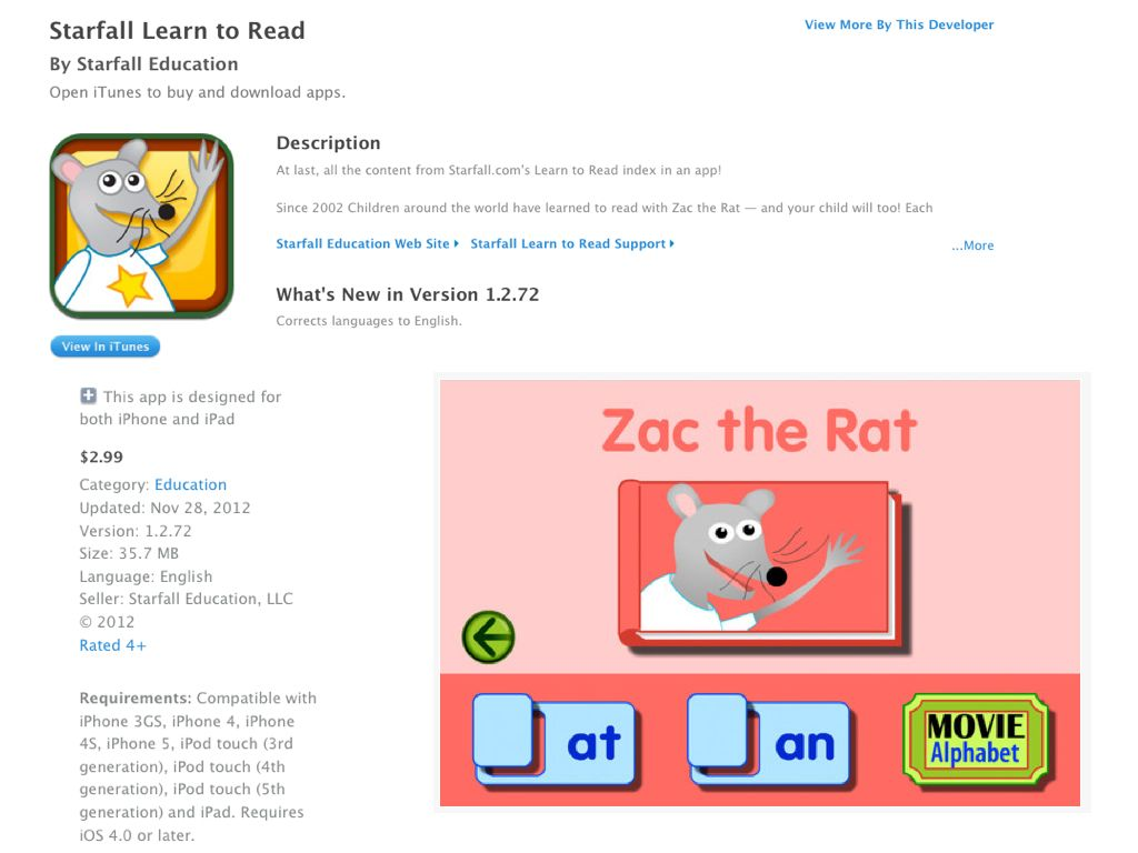 STARFALL Learn to Read APP... corresponds with website