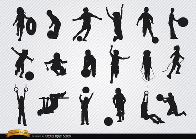 Kids Playing Silhouettes Set Free Vector Download Children Kids Playing Silhouette Silhouette Vector