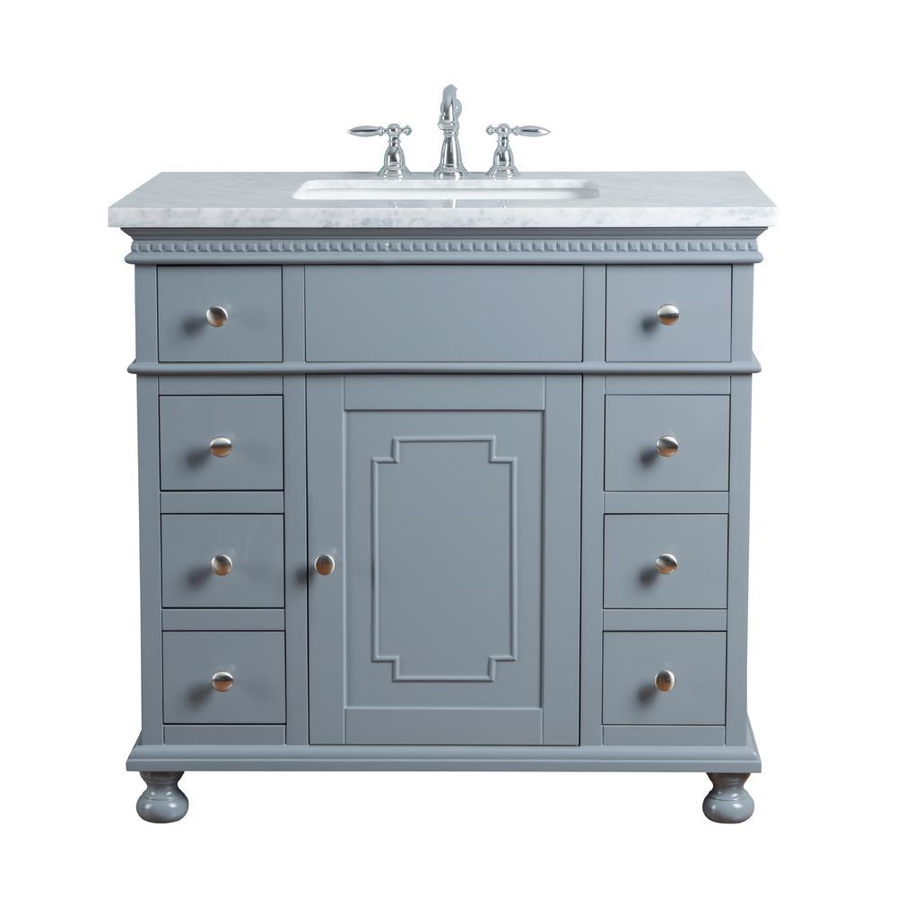 Stufurhome 36 In Abigail Embellished Single Sink Vanity In Grey