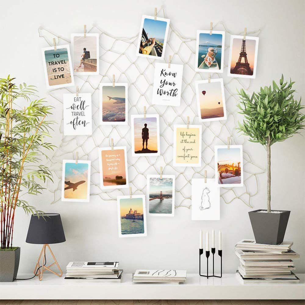 Vielseitige Foto Wanddekoration Collage (hängend) DIY Bilderrahmen mit Holzklammern Bilder aufhängen