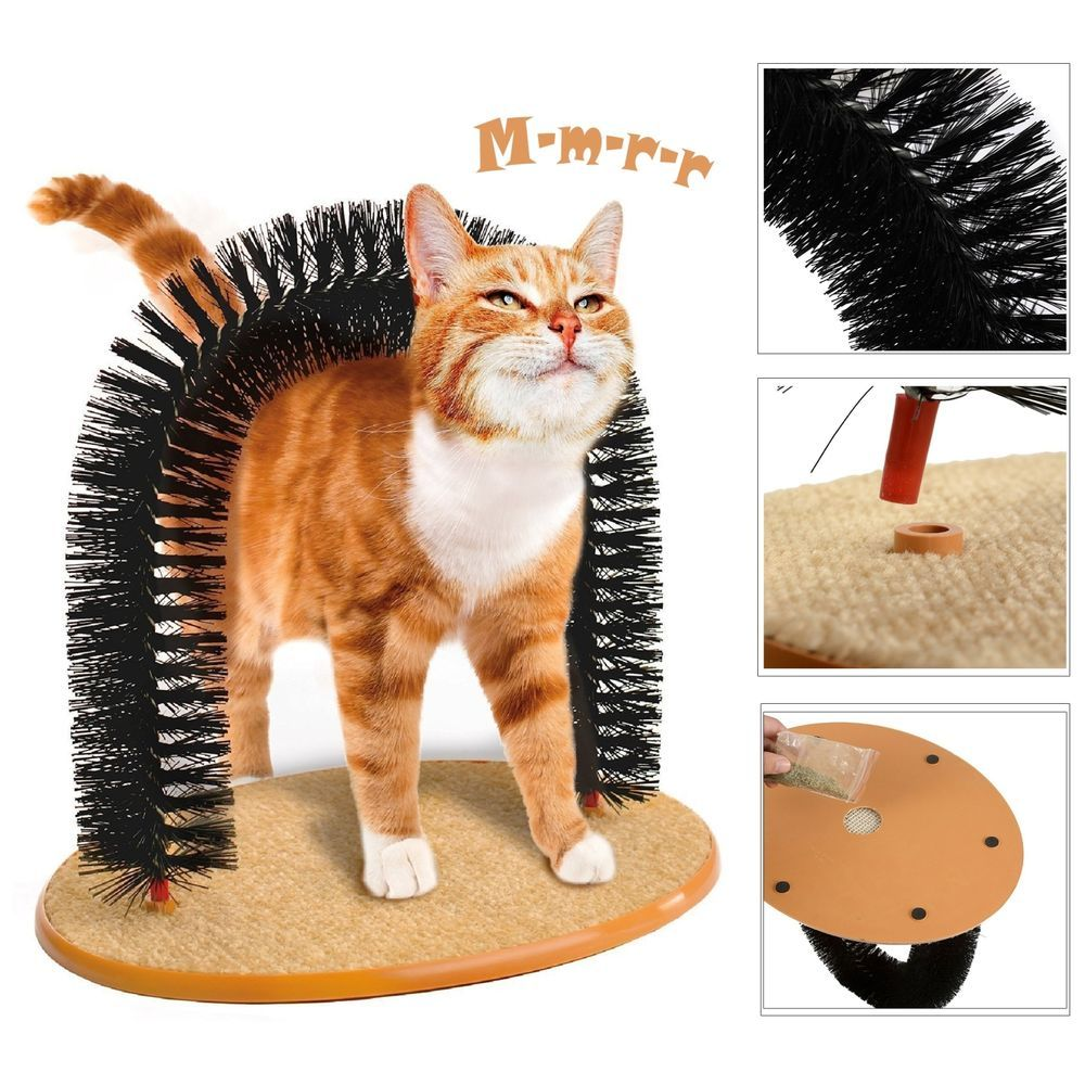 Cat Scratcher Post Pet Arch Groomer Brush Furniture