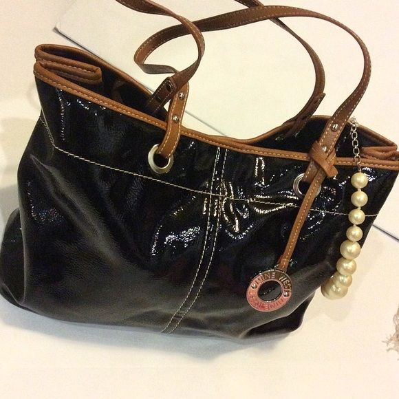 Nine West Patent Leather Bag With Coin Purse And Specialized Key Chain Attachment Bags Totes