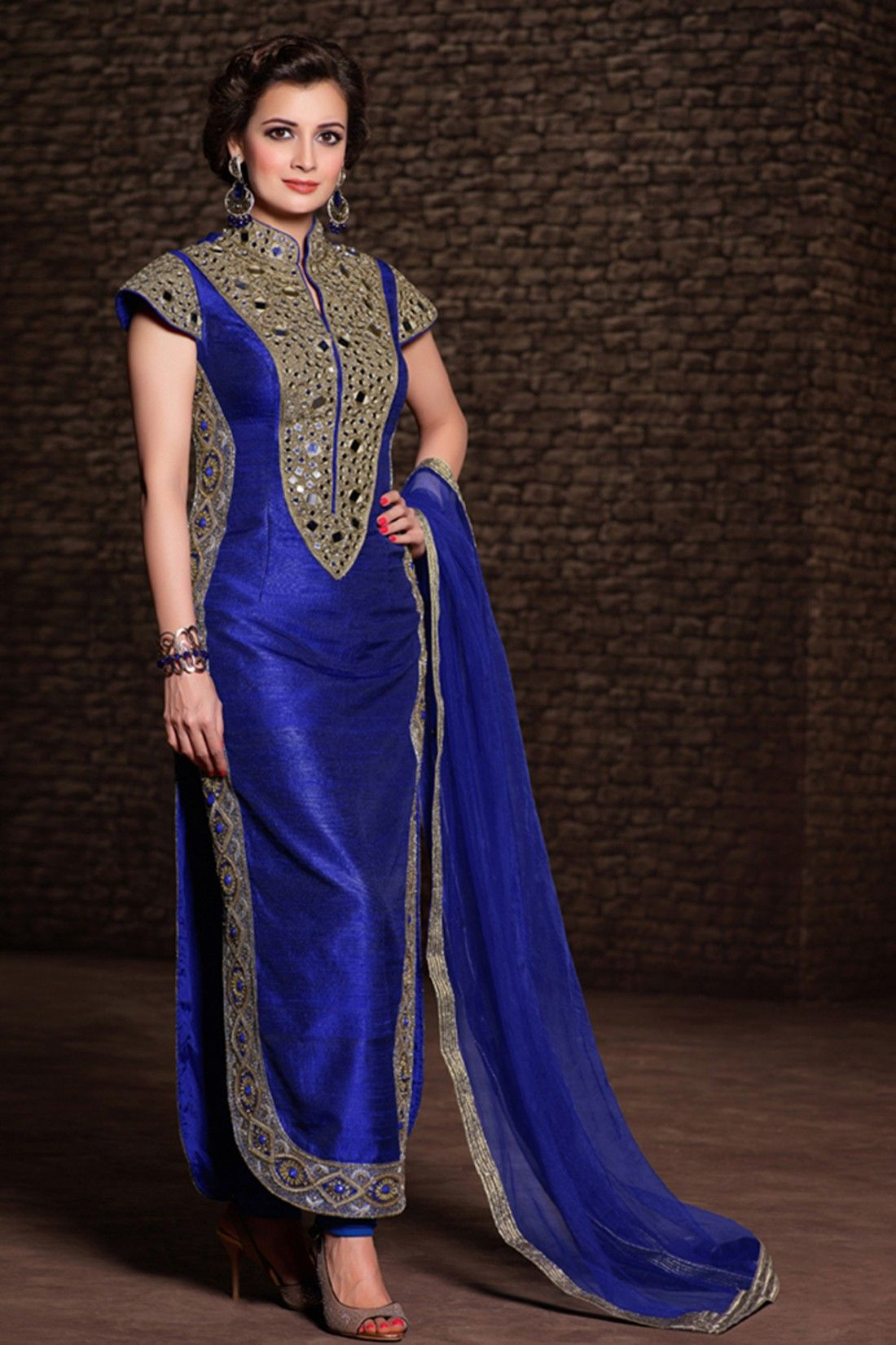 Dia Mirza - Blue Net and Silk Salwar Kameez Checkout our celebrity ...