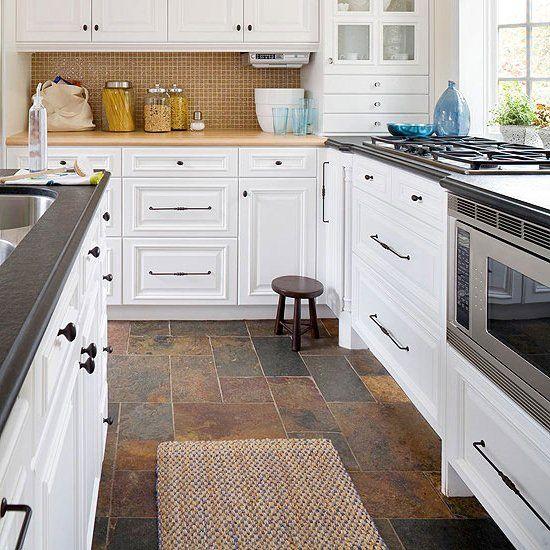 White Kitchen Slate Floor: Slate Kitchen Floor Idea