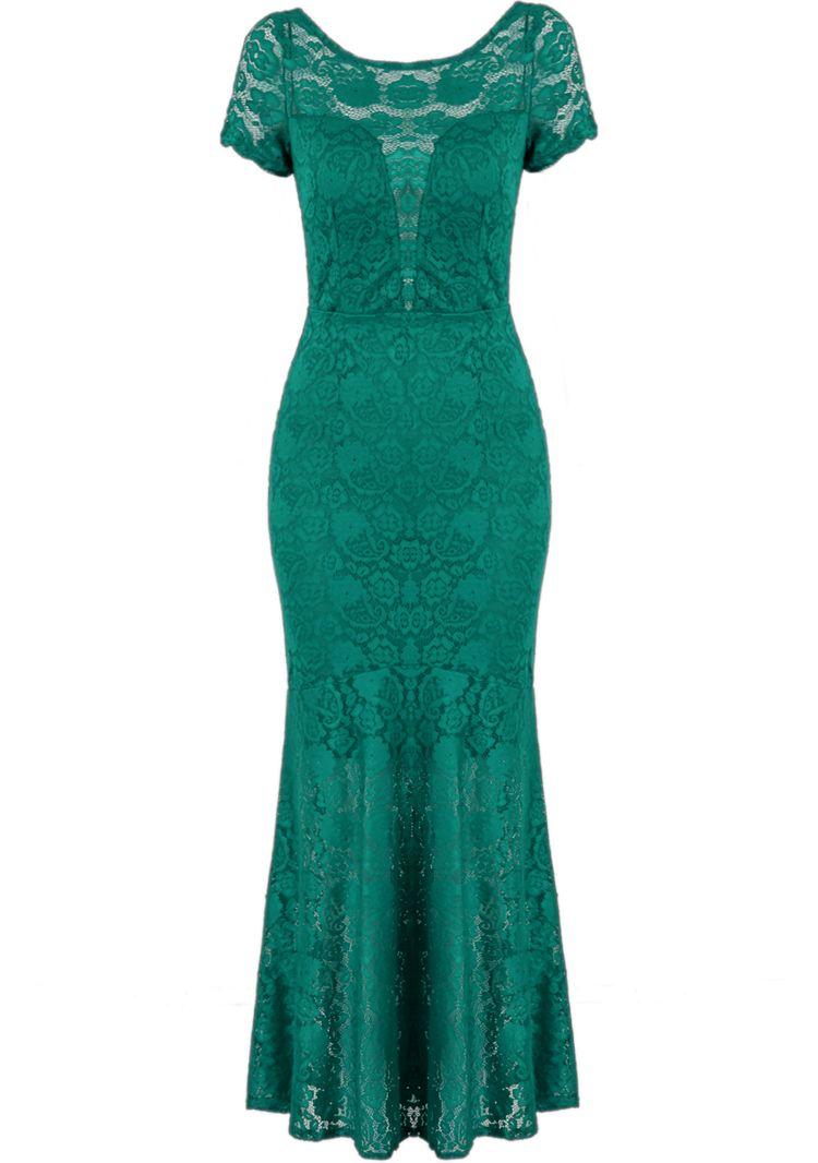 Green short sleeve backless lace maxi dress sheinside cute