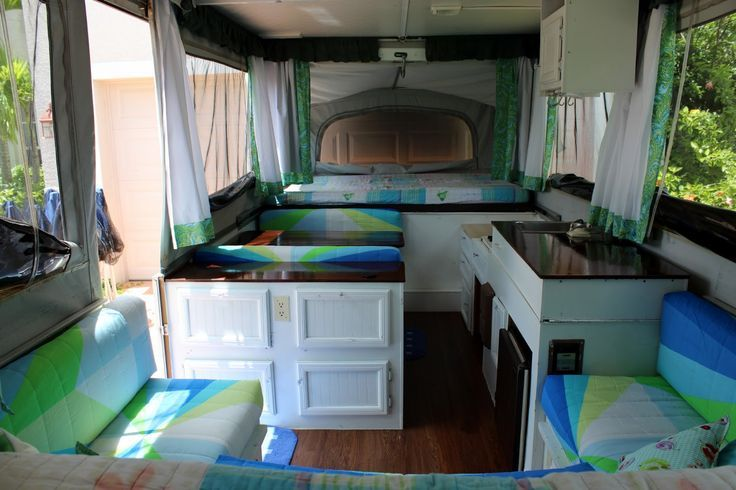 Charming Bright And Cheery And Budget Friendly, Jayco 1207 Pop Up Tent Camper  Interior Remodel