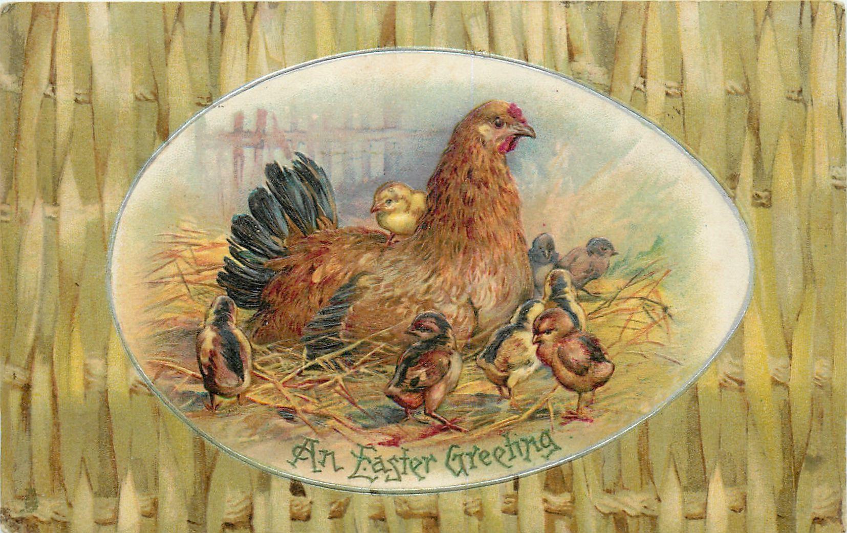 Пасхальный ПРИВЕТСТВИЕ яйцевидной формы вставка из курицы на гнездо с птенцами вокруг, плетеный забор объемного звучания