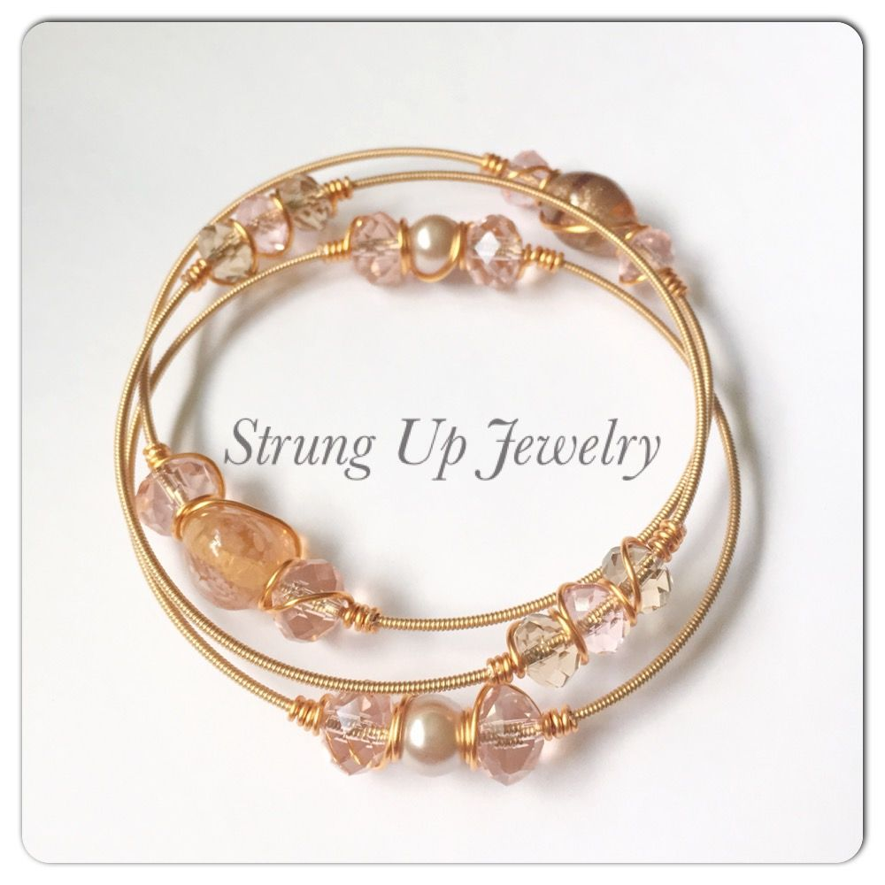 Recycled guitar string jewelry - Recycled Guitar String Rose Gold Bangles With Pearls Crystals And Wire Wrapping