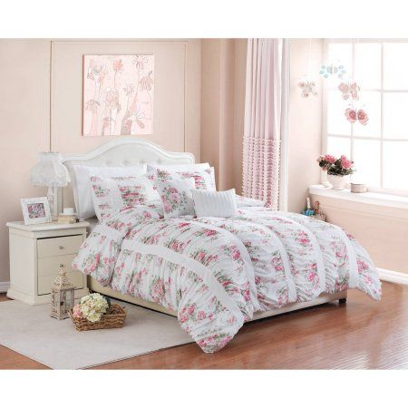 better homes and gardens 5 piece floral ruching bedding comforter rh pinterest com