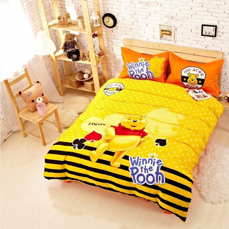 cute cartoon winnie the pooh yellow bedding set twin queen king size cotton quality duvet cover sheet bedset 4pc bedset linen - King Size Bed Sheets